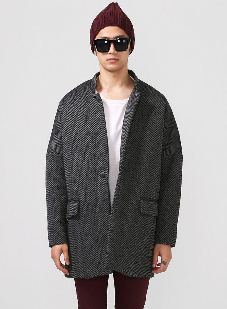 Oversized Drop Shoulder Herringbone Tweed Coat $94.00 | Jackets
