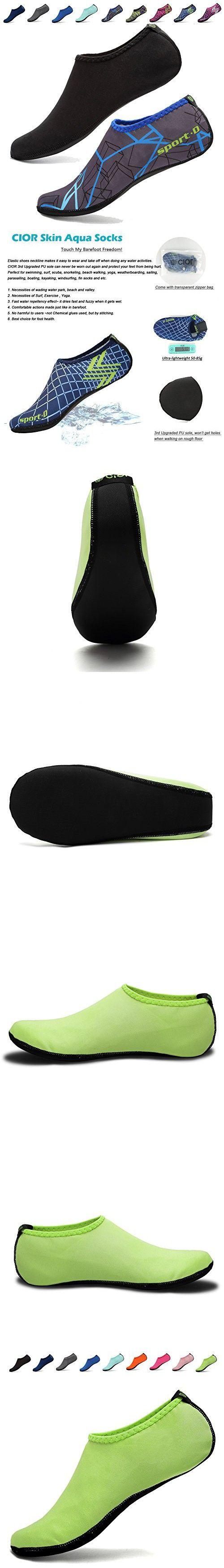 CIOR 3rd Upgraded Version Durable Sole Barefoot Water Skin Shoes Aqua Socks For Beach Pool Sand Swim Surf Yoga Water Aerobics,shs03,green,L