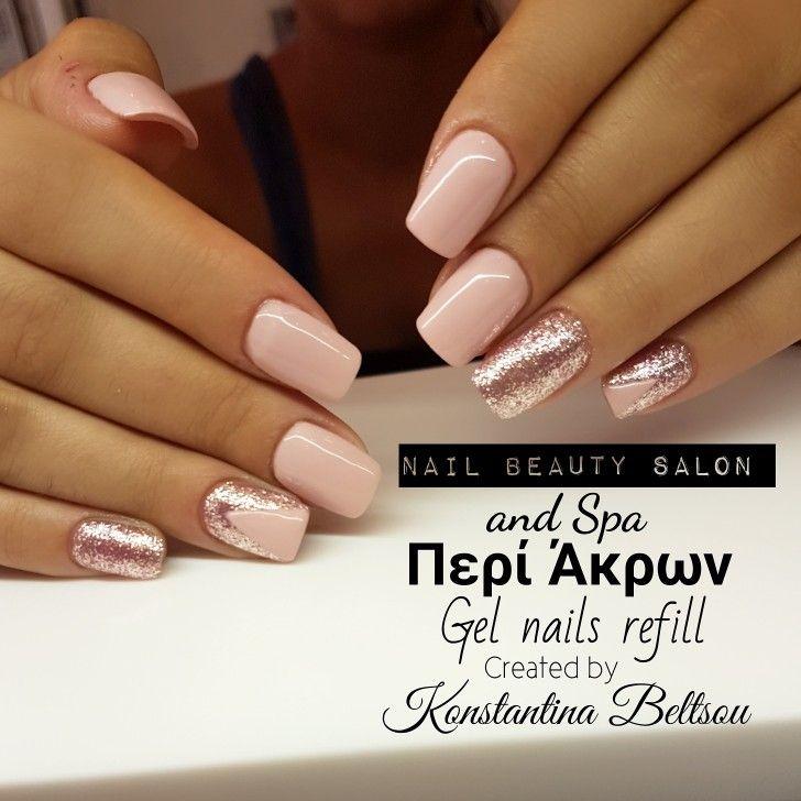 Gel nails, pink nails, square nails, long nails, Glitter