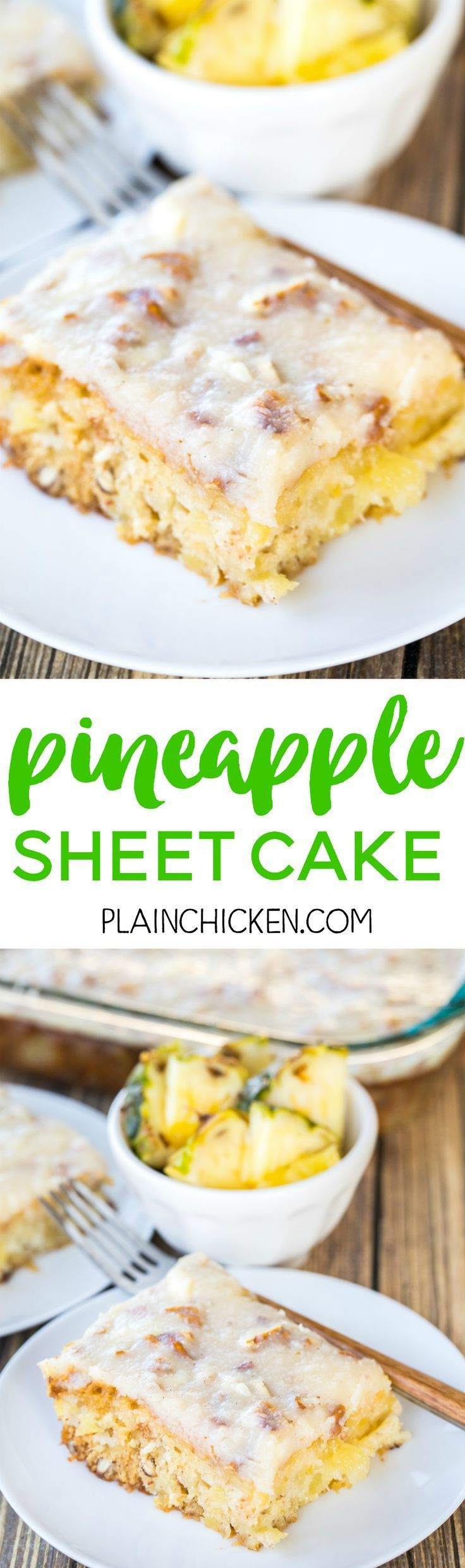 Pineapple Sheet Cake - seriously delicious! Easy pineapple cake with a delicious cream cheese frosting! Sugar, flour, baking soda, vanilla, crushed pineapple, pecans, butter, cream cheese. Great for cookouts and potlucks. Can make ahead of time and refrig