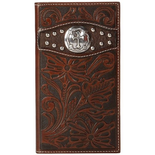 Ariat Tooled Cross Concho Rodeo Wallet (Brown) ($45) ❤ liked on Polyvore featuring men's fashion, men's bags, men's wallets, brown, wallets & accessories, mens leather long wallet, mens long wallets, mens leather wallets, mens leather checkbook wallet and mens checkbook wallet