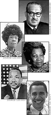 Thurgood Marshall, Shirley Chisholm, Toni Morrison, Martin Luther King, Jr., and Barack Obama More