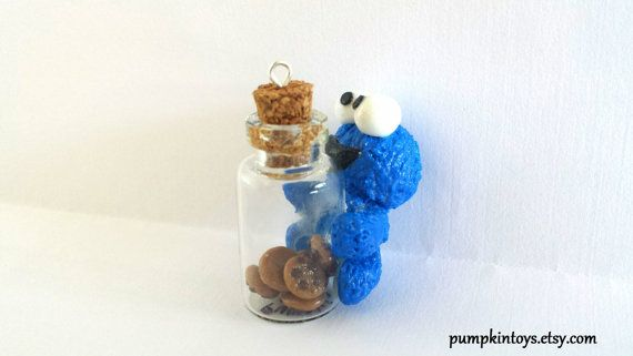 Cookie Monster with Bottle of Cookies Cute Clay by PumpkinToys