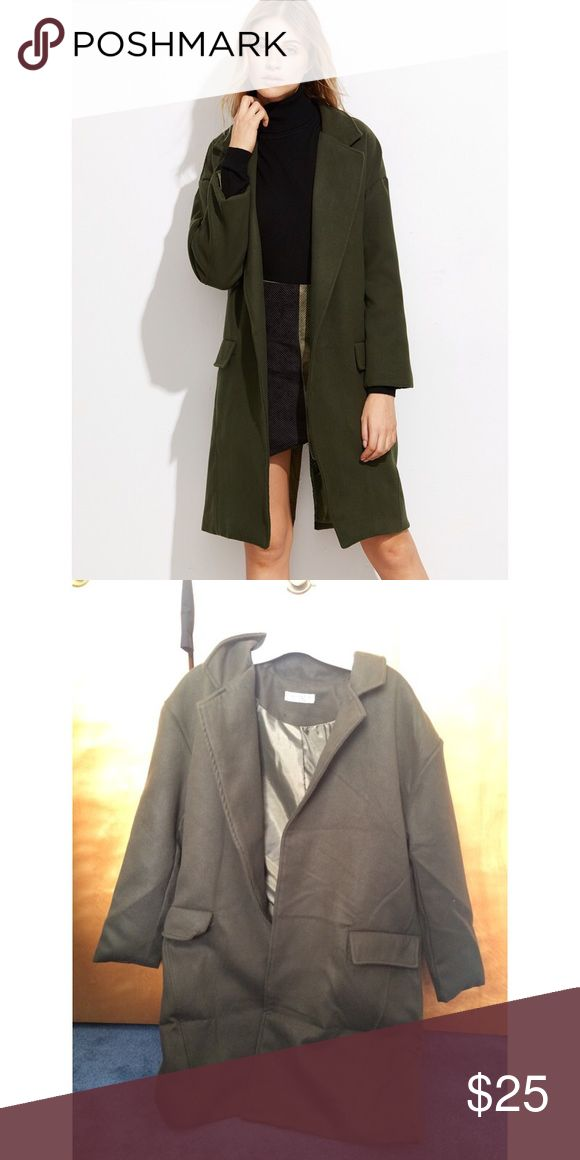 Army Green Open Front Split Long Coat New  •very chunky and warm •one size! •I'm 5'2-5'3 and this was super long on me so I have to sell :( I think it would look great on people who are taller! •original price was $30 so I just want my money back •Korean style coat •two front pockets •Korean Asian style Jackets & Coats Trench Coats