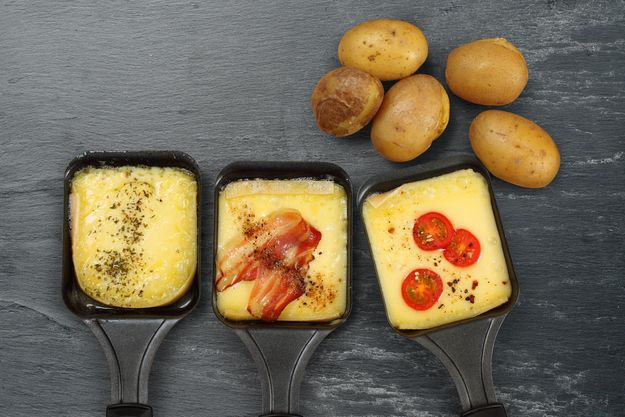 Raclette | you just cover baked potatoes, ham and salami with the melted cheese. It's obviously delicious.