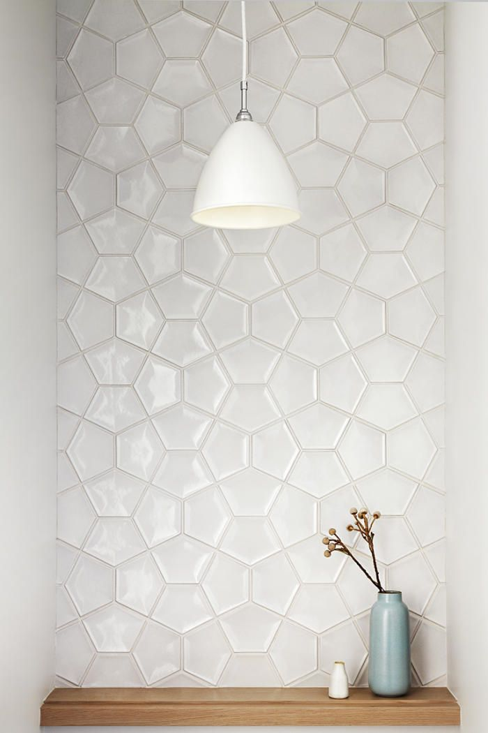 bathroom and kitchen tile. white tile inspiration from a home in california. this would look nice small half bath as an accent wall. bathroom and kitchen