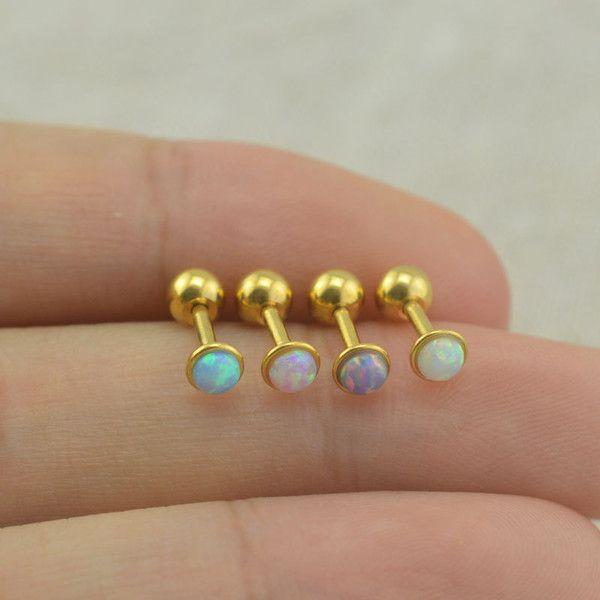 opal tragus earrings,opal cartilage earrings helix earring,friendship... (€6,55) ❤ liked on Polyvore featuring jewelry, earrings, long earrings, earrings jewelry, opal jewelry, opal jewellery and opal earrings