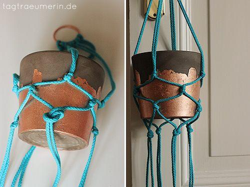 DIY: Blumenampel and vergoldeter Blumentopf