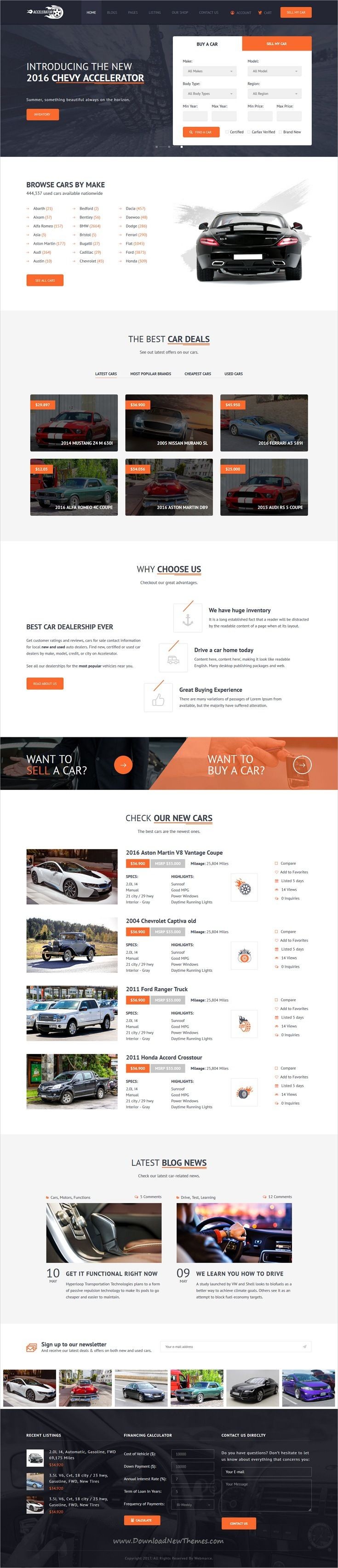 Accelerator is clean and modern design responsive #HTML Bootstrap template for car #listings and automobile #dealers website with advance search form download now #webdesign
