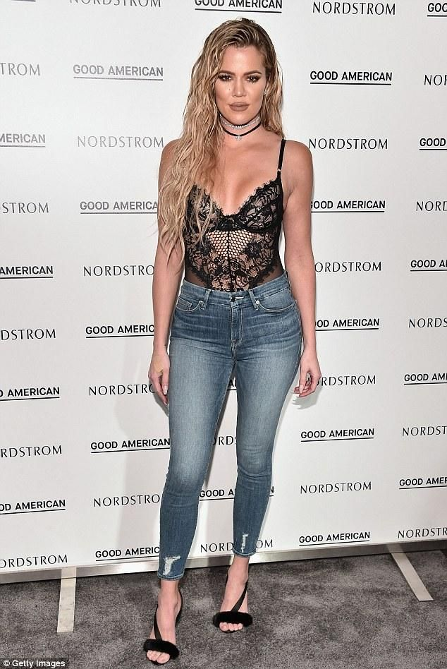 Khloe Kardashian wearing Gooseberry Intimates Honey Bee Bodysuit, Good American Good Legs Crop Jeans, Olgana Paris L'Amazone Slingback Sandals and Fallon Monarch Le Petit Mini Starburst Choker