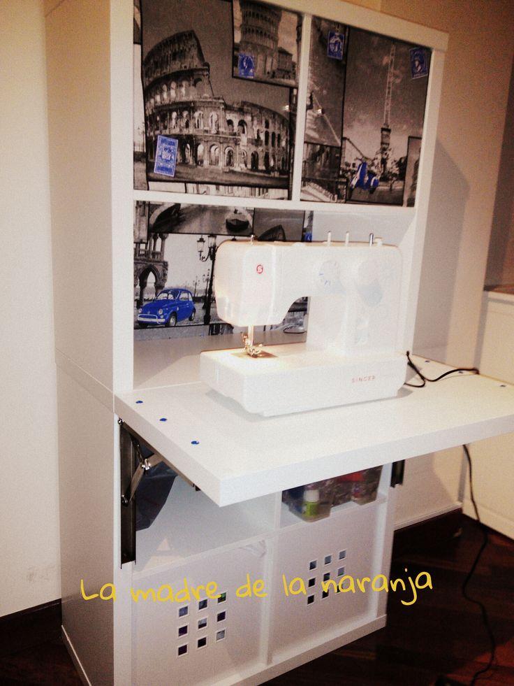 Mesa trabajo costura con estanteria ikea hack rincon for Mueble estanteria ikea