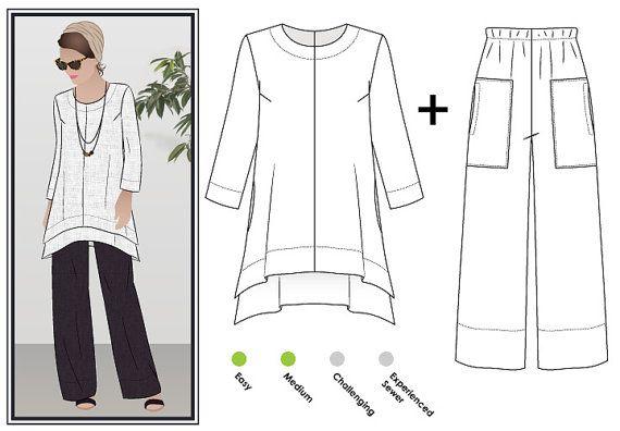 Dubbele Daisy  ontwerper broek & tuniek / / maten 10 12 14