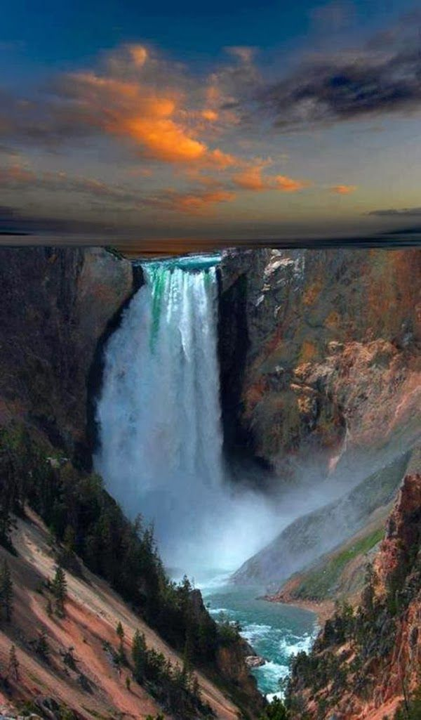 At Dusk WaterFalls in Yellowstone National Park, Wyoming United States