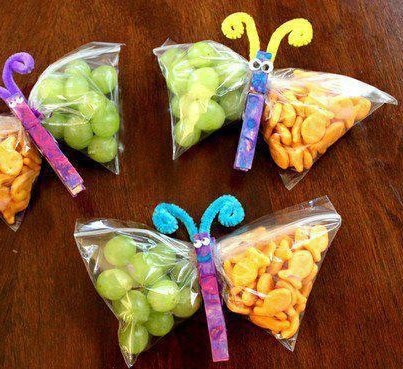 A baggie with a zip lock. a clothes pin, a pipe cleaner, and voila BUTTERFLIES could be fun making the clothes pin butterflies with your kids.