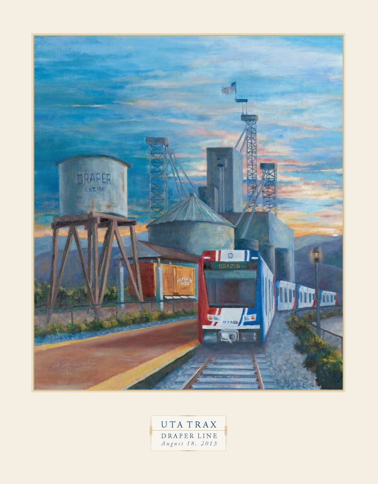 The Draper TRAX extension opened in August 2013. It added three stops to the Blue Line, which currently extends from Draper to downtown Salt Lake City. Poster by G.J. LaBonty.