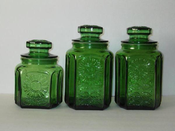 Vintage Green Glass Kitchen Canister Set Wheaton New Jersey Sunflower  Pattern Apothecary Jar Decorative Kitchen Storage Home Decor