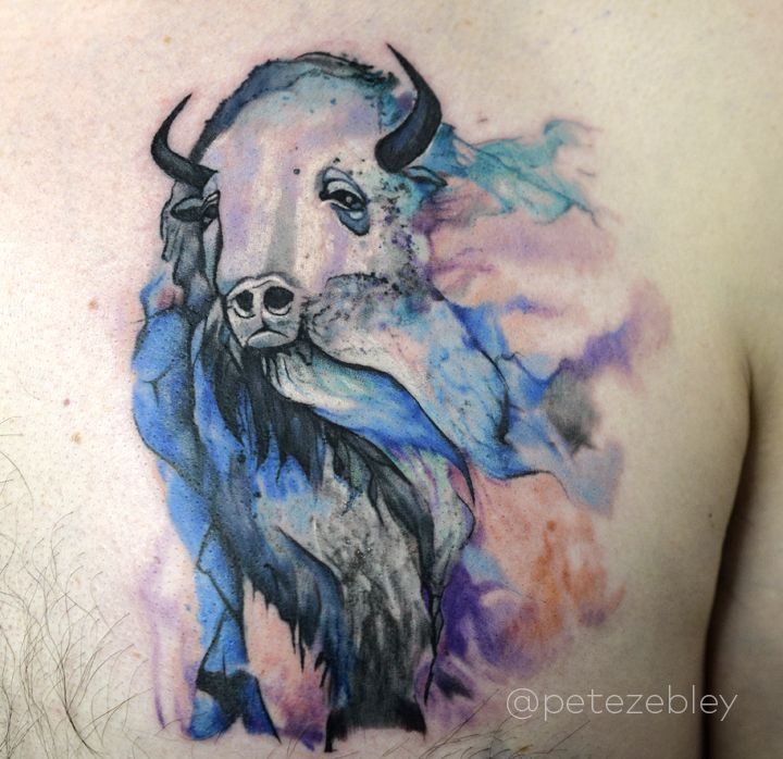 Watercolor Buffalo Tattoo of Mauro Carrera Mural