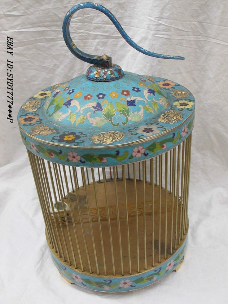 "19""China Chinese Brass cloisonne sculpture butterfly  birdcage bird cage"
