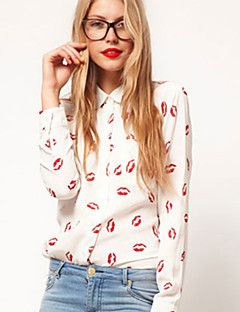 Women's Print White Shirt , Shirt Collar Long Sleeve – USD $ 9.99