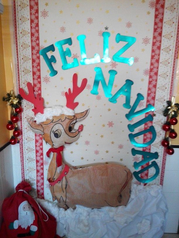 Decoraciones Puerta Papa Noel Chimenea