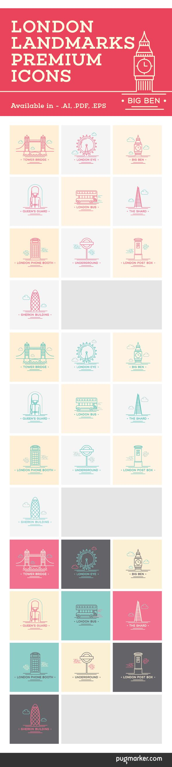 London landmark premium icons / illustrations on Behance