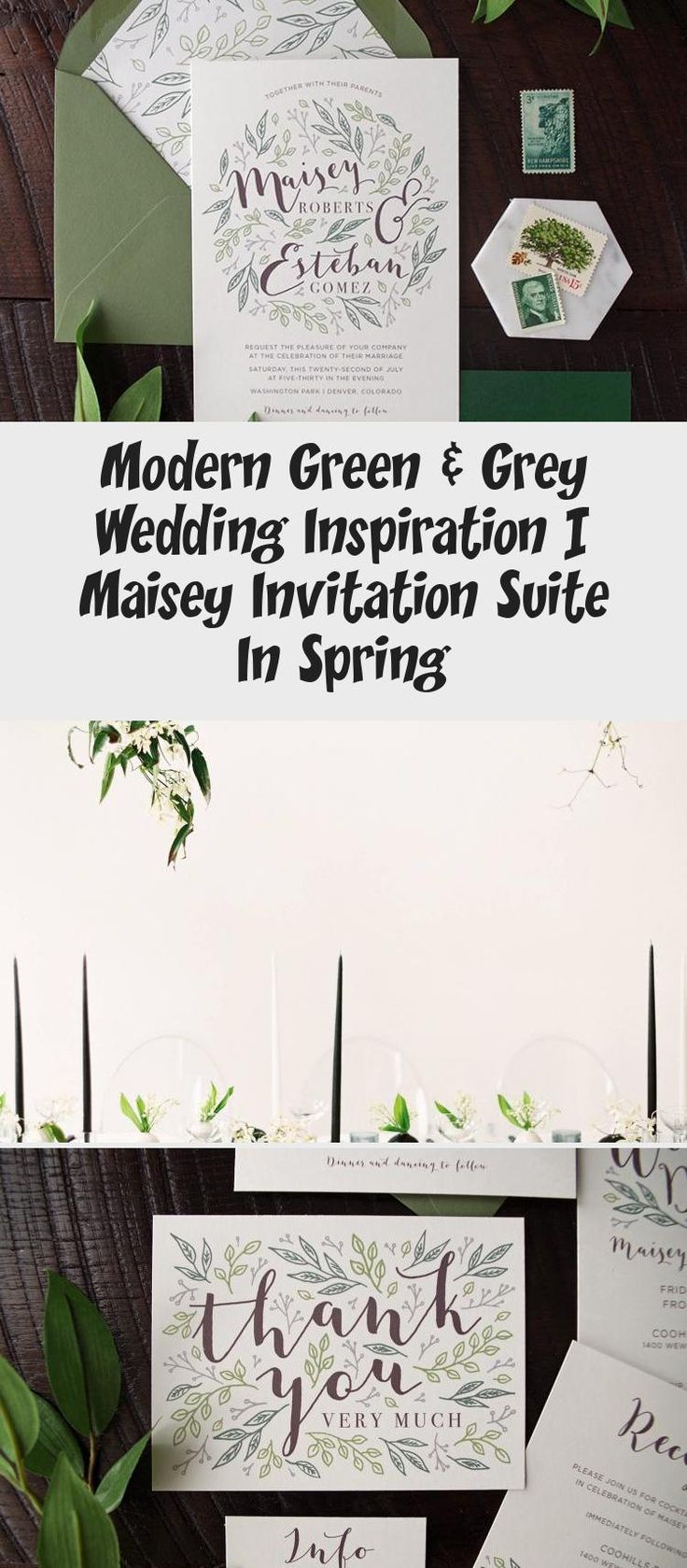 Botanical illustration Green & Grey Wedding inspiration perfect for a modern garden wedding or an urban wedding dripping with greenery. Palette of greens - emerald and sage. Earthy and organic with clean, modern touches. Bridesmaid dresses #BridesmaidDressesStyles #PinkBridesmaidDresses #BridesmaidDressesPlusSize #MermaidBridesmaidDresses #WeddingBridesmaidDresses