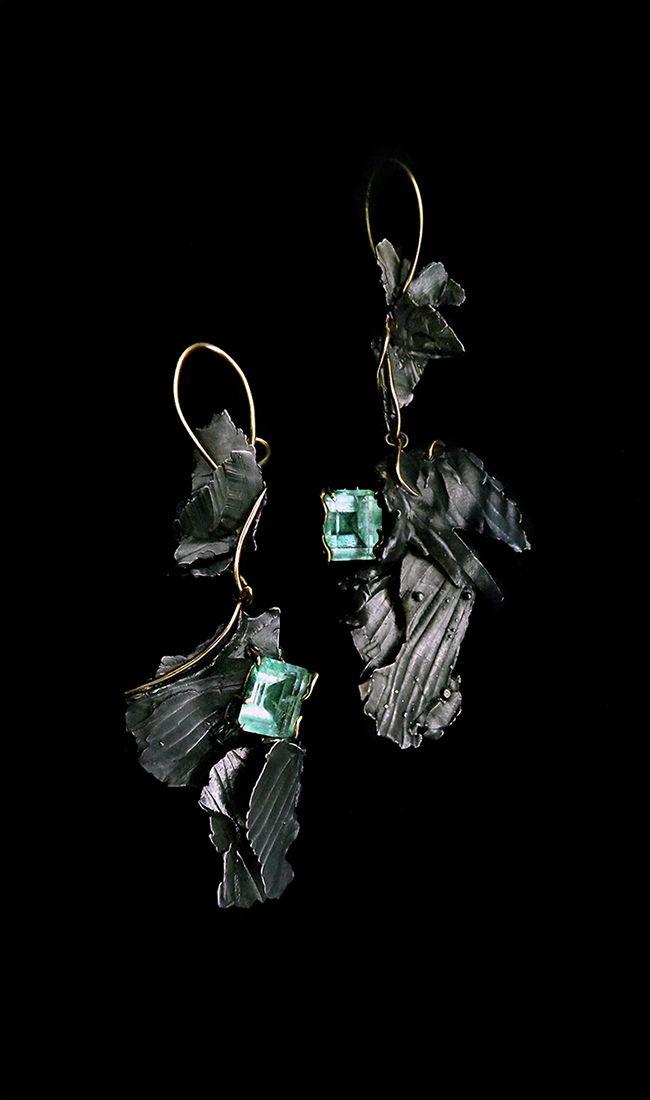 Angelus - by Bon Ton Joyaux, sterling silver, 18 k yellow gold, columbian emeralds