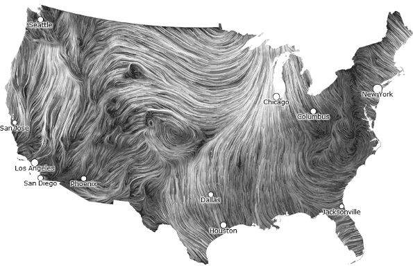 Wind Map by hint.fm: Watch the delicate tracery of wind flowing over the US with this beautiful visualization which is refreshed hourly using data via the National Weather Service http://hint.fm/wind/  via stringfilter. #Wind_Map #hint_fm #stringfilter  http://hint.fm/wind/