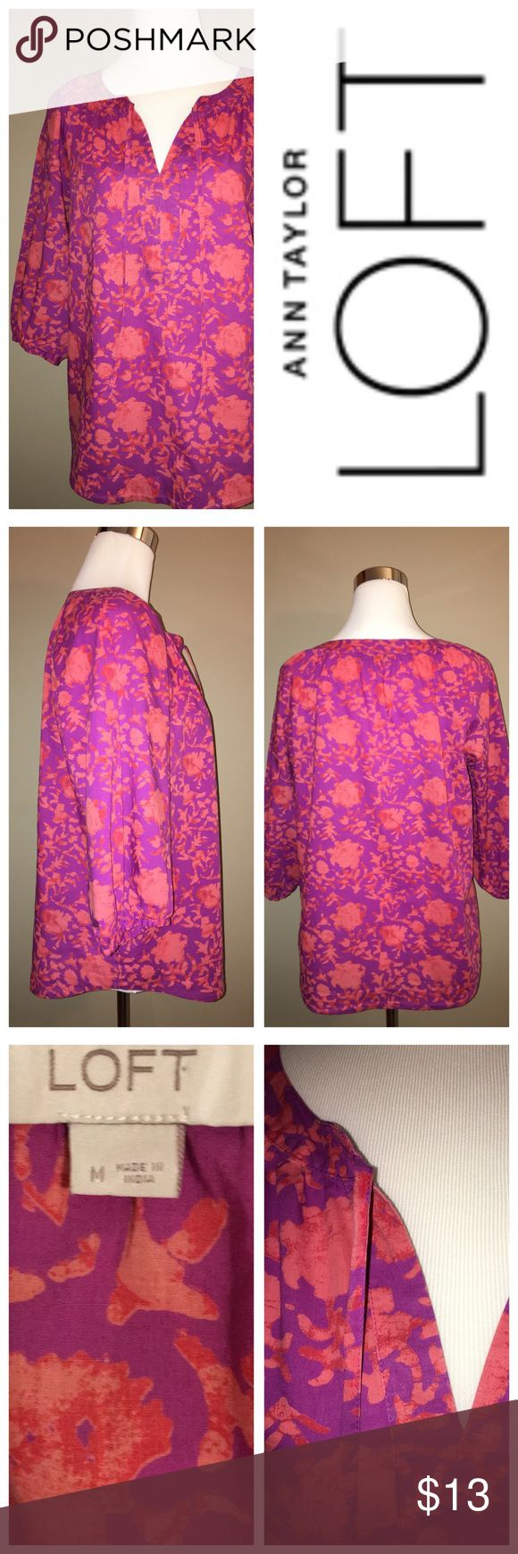 Anne Taylor LOFT Peasant Blouse Beautiful colors! Great with Summer whites or just jeans! LOFT Tops