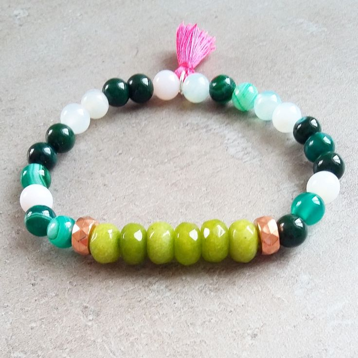 Bracelet with peridot and agate