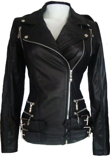 Motorcycle Leather Jacket For Womens With Front Zippers Black Sz M  #ColombianCouture #MotorcycleJacket #ShopTheWorld