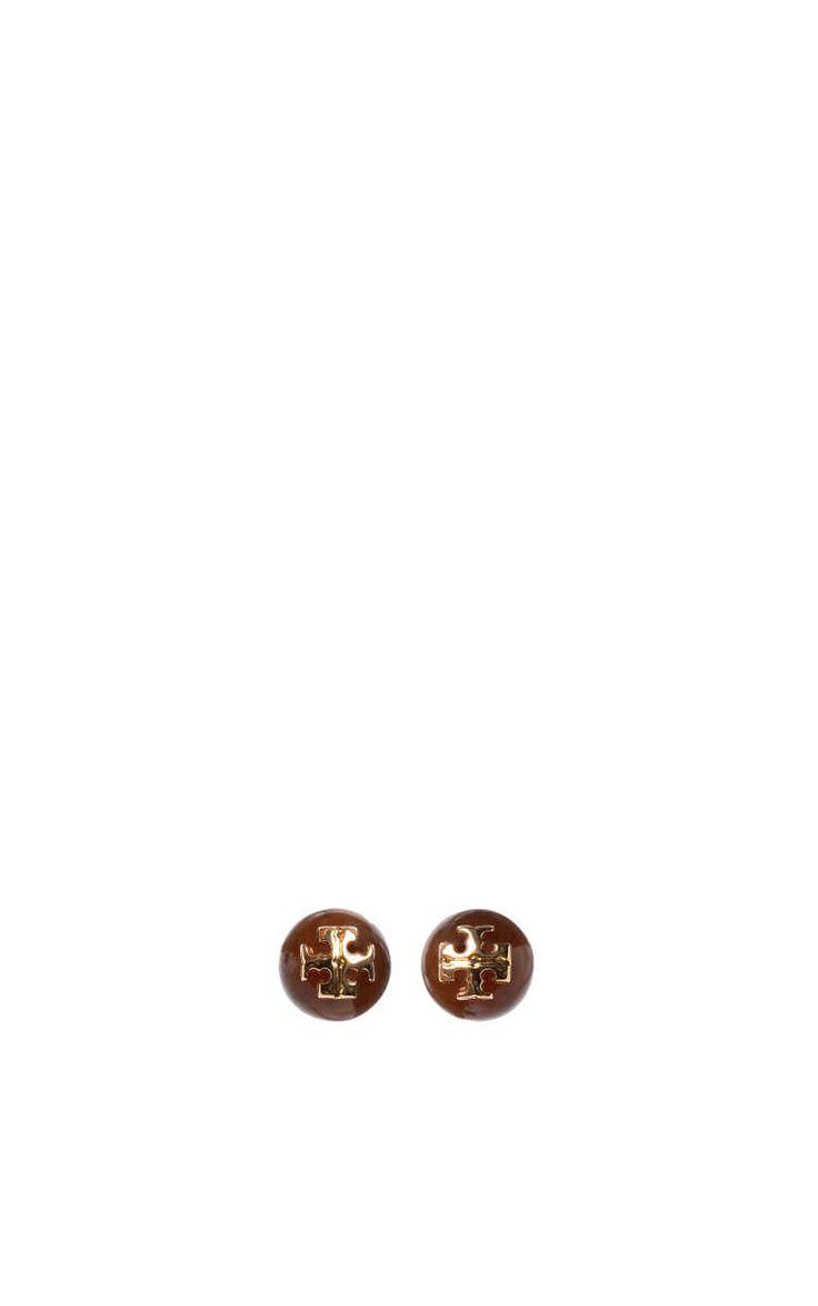 Örhänge Resin Logo Stud TORTOISE - Tory Burch - Designers - Raglady