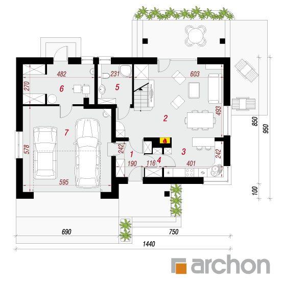 projekt Dom w jabłonkach (G2) rzut parteru