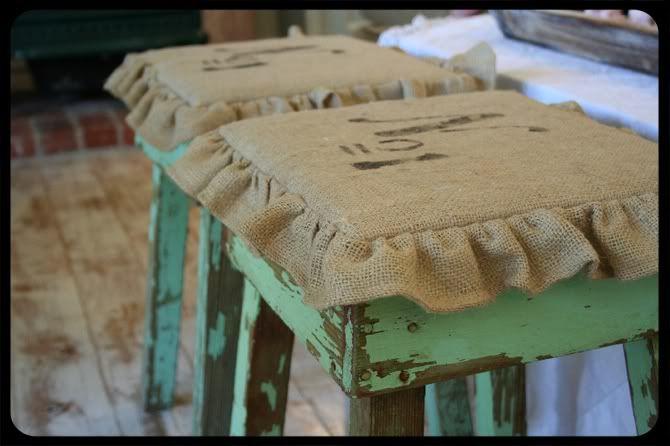 Burlap stool covers