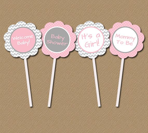 Chevron baby shower cupcake toppers instant download for Baby shower cupcake picks decoration