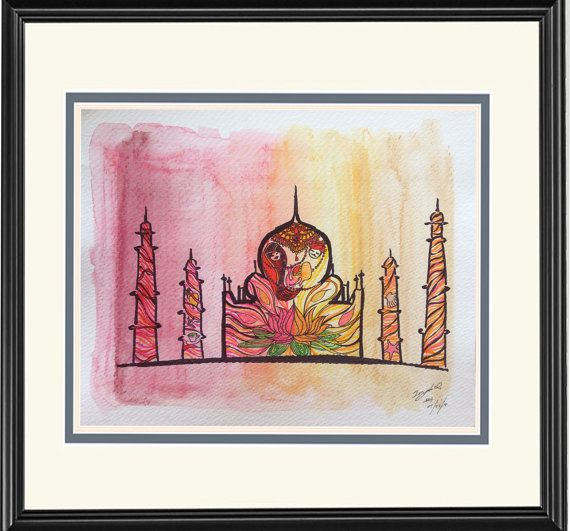 Home Decor: Illustration--Taj Mahal--India, of Dream Country Series; limited prints on Etsy, $12.00