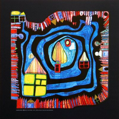 End of the Waters   Painting by Hundertwasser c.1979.Favorite Artists, Artists Hundertwasser, Keys Artists, Inspiration Hundertwasser, Kitchens Glasses, Friedensreich Hundertwasser, Art Hundertwasser, Familia Artistica, Hundertwasser Art