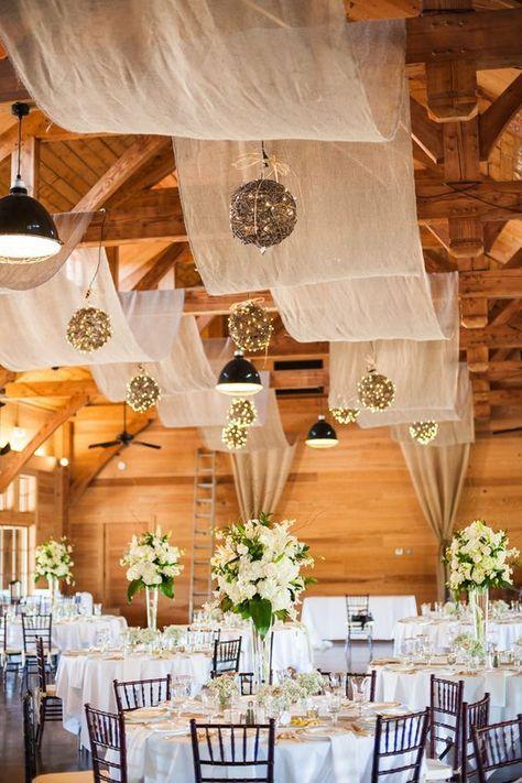 Southern Rustic Charm  Barn Wedding Ideas / http://www.himisspuff.com/rustic-indoor-barn-wedding-reception-ideas/11/