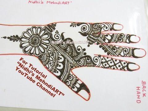 "YouTube latest new 2016 Arabic mehndi henna art design creation tutorial for back hand Eid Diwali festival special. Search ""Nidhi's MehndiART"" YouTube channel for all kind of mehndi henna design tutorial. #fashion #jewellery #trend #bridal #bride #wedding #marriage #festival #tradition #beautiful #girl #london #paris #canada #us #india #surat #ahmedabad #uk #arabic #floral #gulf #dubai #henna #mehndi #mehandi #art #drawing #tattoo #design"