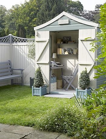 cute shed - love the pots at the side of the door