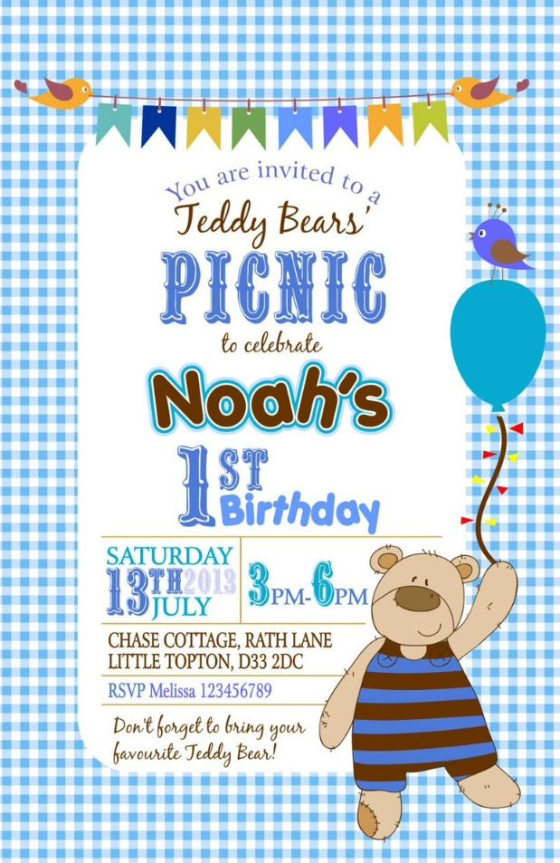 38 best Teddy bear\'s picnic birthday party ideas images on Pinterest ...