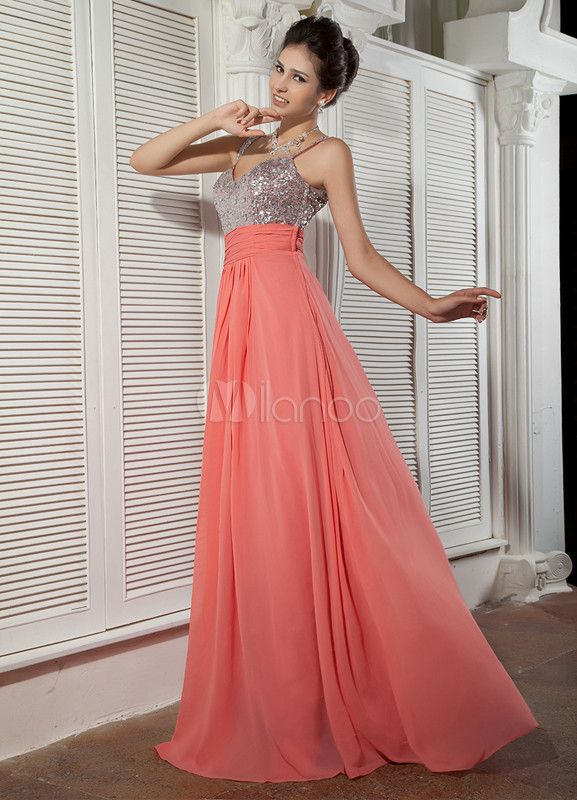 Candy Pink Sequined Chiffon Elastic Woven Satin Prom Dress $89
