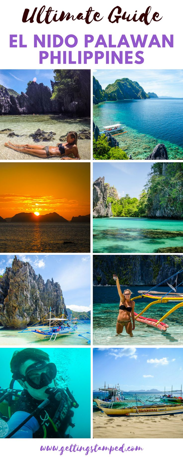 El Nido #Palawan #Philippines has some of the most beautiful scenery we have ever encountered. This cluster of islands is off the tip of the Palawan Island is full of dramatic rock formations and surrounded by bright blue waters   || Getting Stamped - Couple #Travel & #Photography #Blog