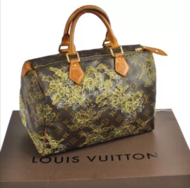 Louis Vuitton Monogram Sdy 30 Gold Dentelle Lace Embroidered Handbag Rare Gasm Ebay Pinterest