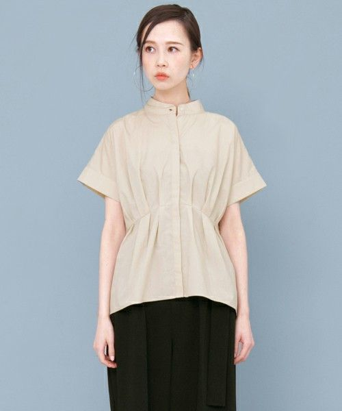 KBF(ケイビーエフ)の「【WEB限定】 KBFノーカラーペプラムシャツ(シャツ/ブラウス)」|詳細画像