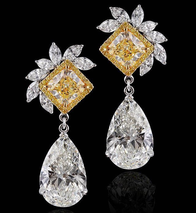 Pear-Cut White Diamond, Square-Cut Fancy Intense Yellow Diamond, Marquis-Cut White Diamond and 18K Gold Earrings