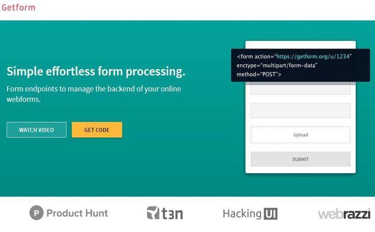 Getform es una plataforma para crear fácilmente todo tipo de formularios web para nuestro sitio, nos facilita el código HTML para su inserción.