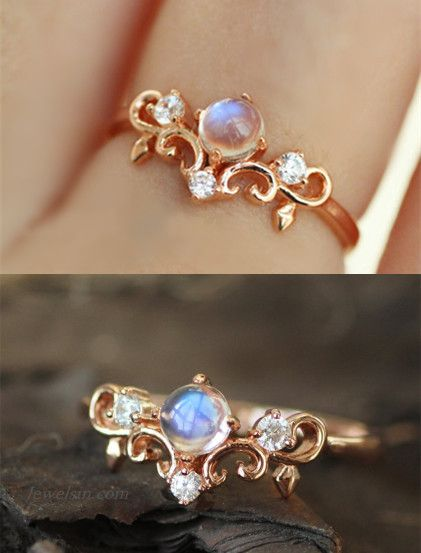 delicate rose gold plated silver  natural moonstone tiny crown promise ring cocktail ring birthday gift for woman http://www.jewelsin.com/p-rose-gold-plated-925-silver-moonstone-princess-crown-ring-1481