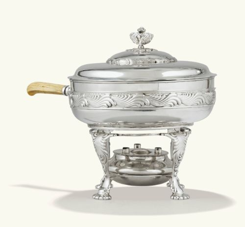 A SILVER CHAFING DISH WITH IVORY HANDLE ON WARLIN STAND, TIFFANY, NEW YORK, 1891-1902