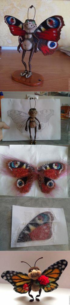 МК - Создаем крылья бабочки из шерсти...